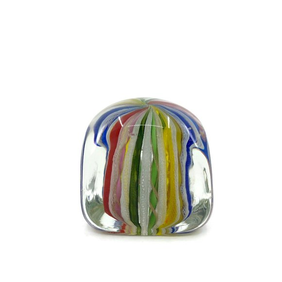 Vintage Murano Square Art Glass Paperweight